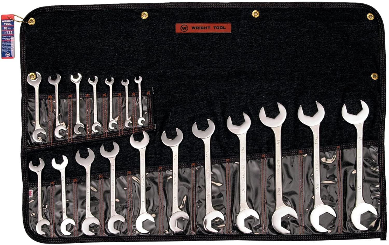 SET 732 18PC COMB WRENCH SET 18 Pc. Open End, Double Angle